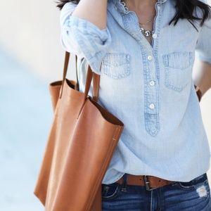 J. Crew Chambray Half Button Top Small